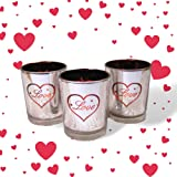 Valentine's Day Decorations - Set of 3 Silver Metallic Votive Candle Holders - 3 White Flameless Tealights Included - Valentine Candle