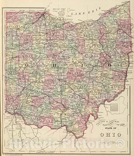 Historic Map | 1884 Ohio. | Vintage Wall Art | 20in x -
