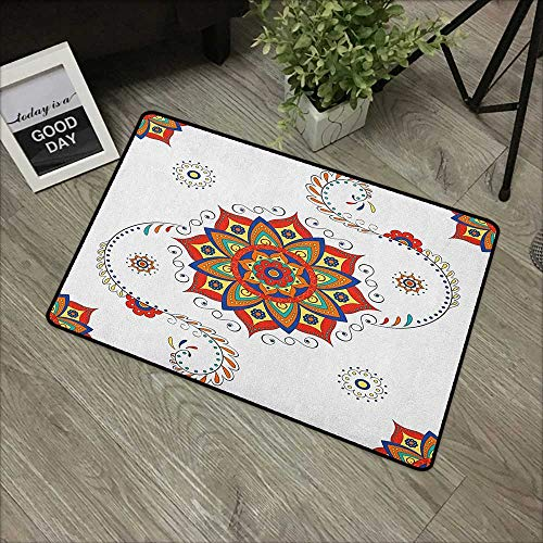 (Outdoor door mat W24 x L35 INCH Lotus,Lotus Flower with Abstract Modern Style Mandala Influences Symmetric Folk Pattern, Multicolor Our bottom is non-slip and will not let the baby slip,Door Mat Carpe)