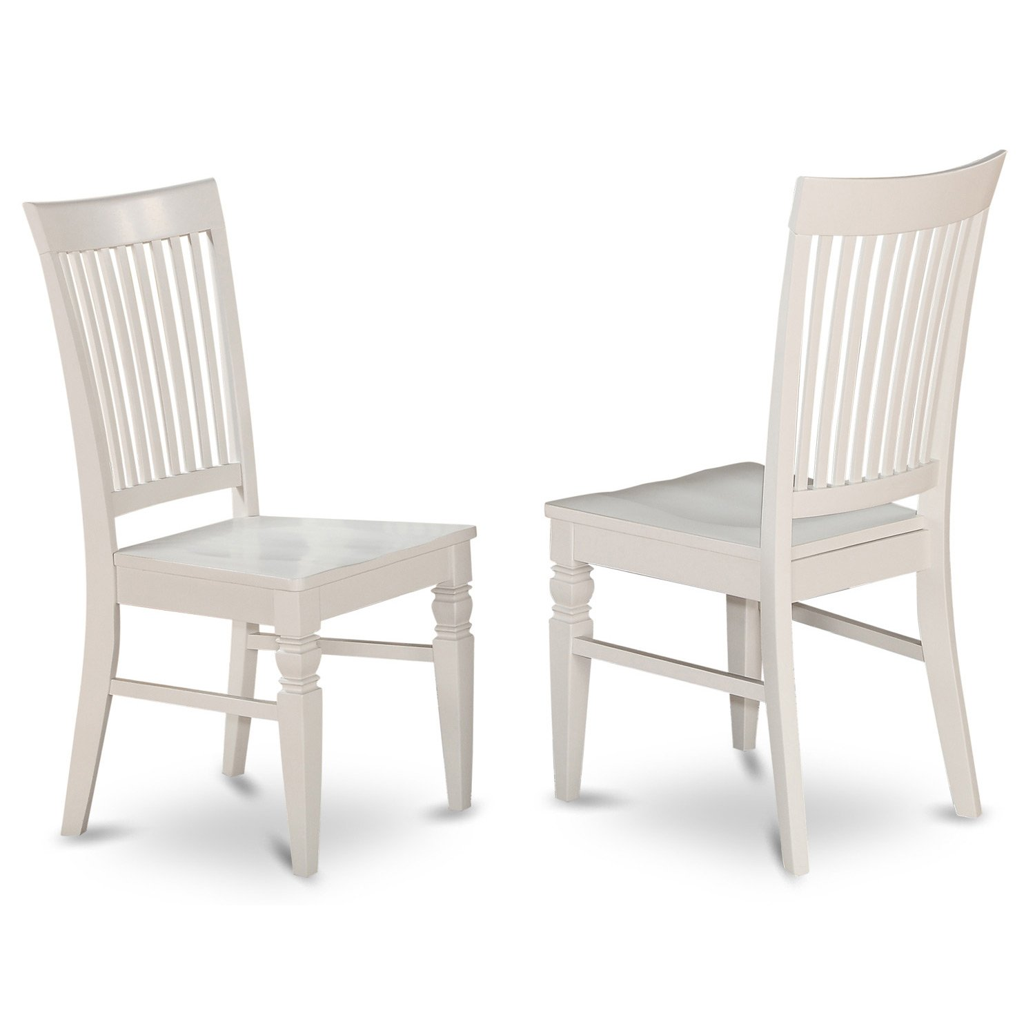 East West Furniture ANWE5-LWH-W 5 PC Set with One Table 4 Solid Wood Seat Dinette Chairs in a Distinctive Linen White