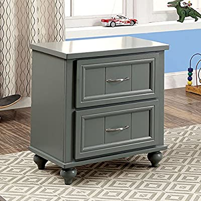 Furniture of America CM7322GY-N Lacey Gray Nightstands - Part of Lacy collection Crafted from solid wood and wood veneers Gary Finish - bedroom-furniture, nightstands, bedroom - 61LhADcqjEL. SS400  -