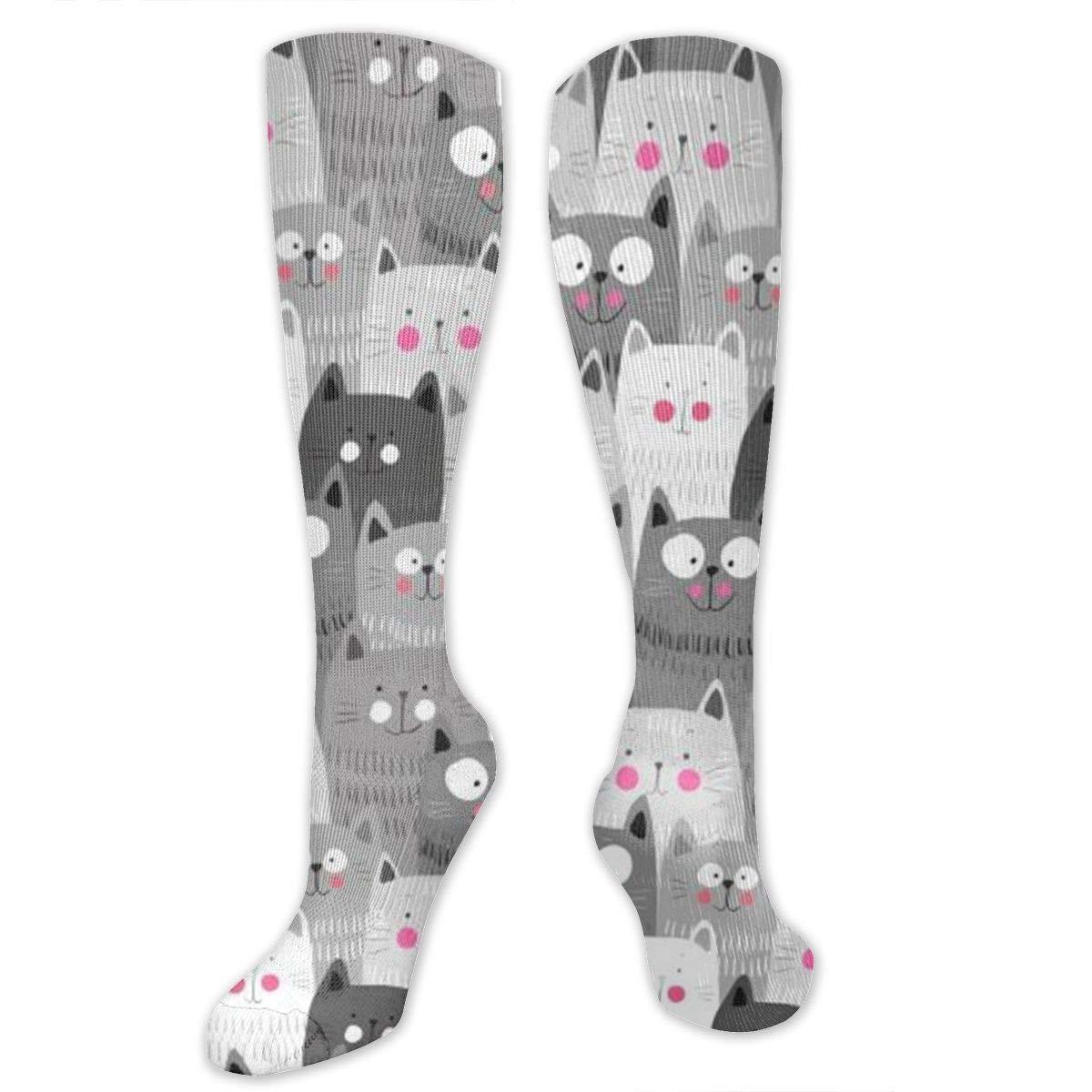 Chanwazibibiliu Cute Cats Mens Colorful Dress Socks Funky Men Multicolored Pattern Fashionable Fun Crew Cotton Socks