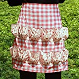 Hense Egg Holding Apron with 12 Pockets, Perfect for Farmer House-hold Clever Housewife Must Have Apron(HSW-027-001 red/white checks with pink floral)