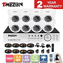 TMEZON 8CH AHD 1080P System CCTV Cameras Surveillance Security System 8x 2.0MP Night Vision Outdoor 2.8mm-12mm Zoom Lens AHD Camera