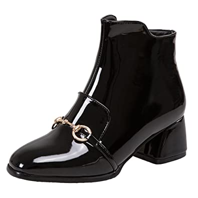 COOLCEPT Damen Mode Blockabsatz Ankle Stiefel Mit Zipper (32 EU,Black)