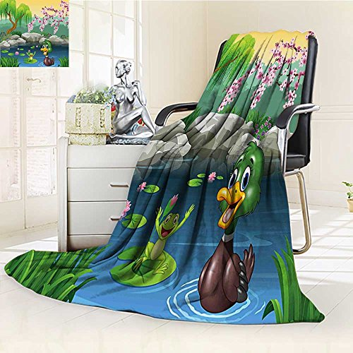 Duplex printed blanket ,Suitable for Fall Winter Summer Spring Cartoon Vector Ducks Frogs in a Lake Pond Trees Image Kids Nursery Design Artwork Multicolor Warm Elegant Cozy Fuzzy Fluffy Faux
