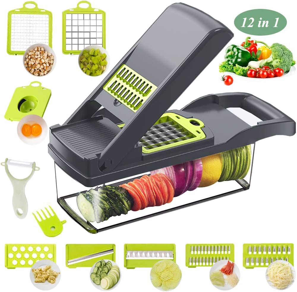 Vegetable Chopper Mandoline Slicer Cutter Chopper and Grater 12 in 1 Interchangeable Blades with Colander Basket and Container