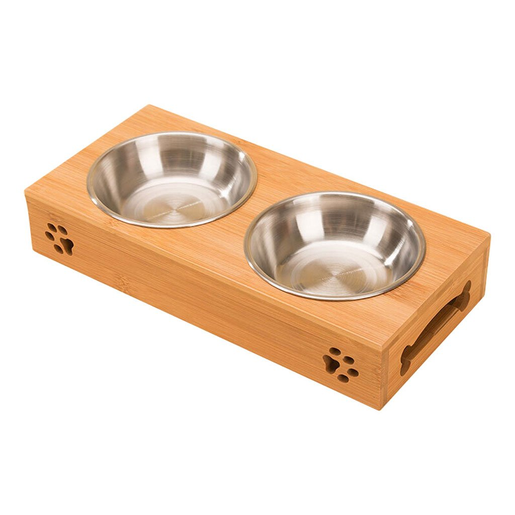 Bowls Cat and Dog Food Bowl Drinking Bowl Pet Supplies Bamboo Frame Stainless Steel Double Bowl Horn