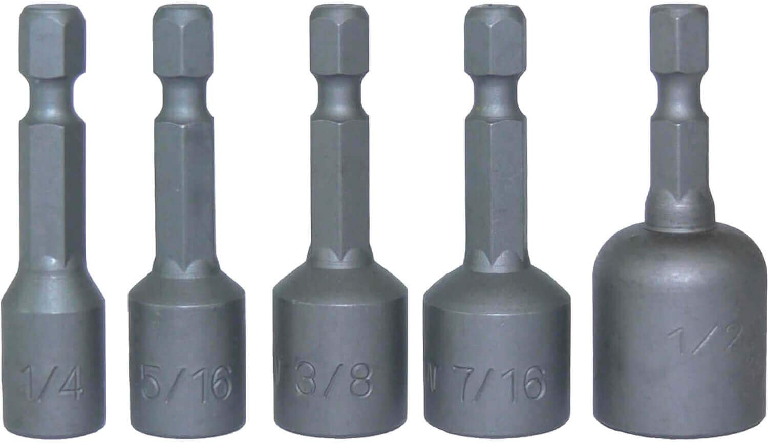 """5//16/"""" 5 pc 1//4/"""" SHANK MAGNETIC NUT SETTER DRIVER SET 1//4/"""" 7//16/"""" and 1//2/"""" 3//8/"""""""