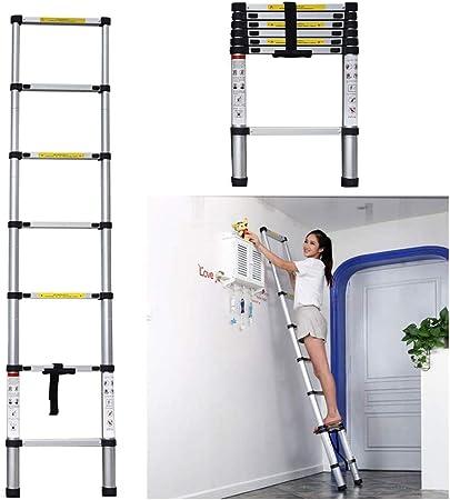 Escalera Telescópica, Extensión telescópica Escalera - Aluminio telescópica Escalera Multi Propósito con Spring Loaded Mecanismo de Bloqueo, Antideslizante, 330 Libras Capacidad MAX: Amazon.es: Hogar
