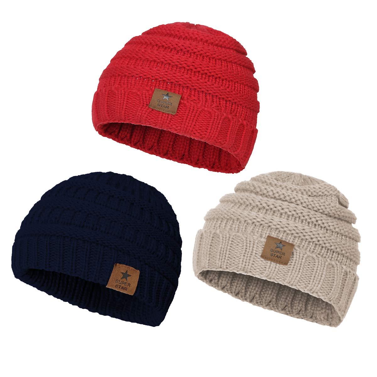 Amazon.com  Zando Baby Winter Hats Caps Warm Infant Toddler Children s Beanie  Knit Hat Girls Boys 0-4 Years Old 3 Pack Red 81476c69474