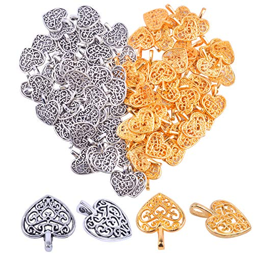 Hendevl 100 Pieces Heart Charms Pendants Metal Beads for Jewelry Making Bracelet Necklace,Antique Silver and - Bead Antique Metal Gold