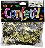 Beistle CN020 Congrats and Caps Confetti, 0.5 ounces, Black/Gold