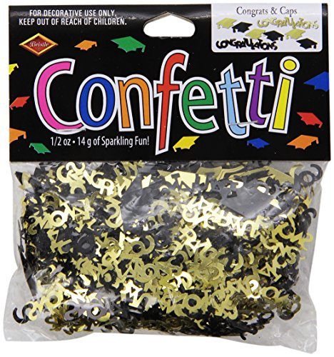 Beistle CN020 Congrats and Caps Confetti, 0.5 ounces, Black/Gold -