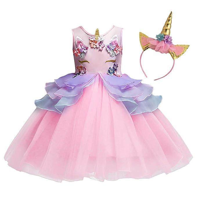 bb66b13aab904 Amazon.com: MYRISAM Unicorn Princess Tulle Dress Girls Birthday ...