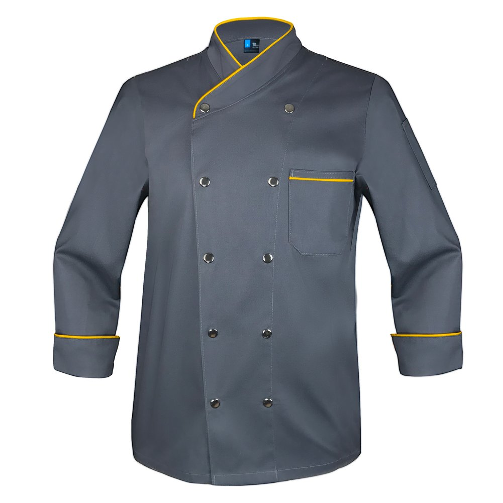 10oz apparel Twill Snap Front Chef Coat Long Sleeve Charcoal/Gold Piping XL