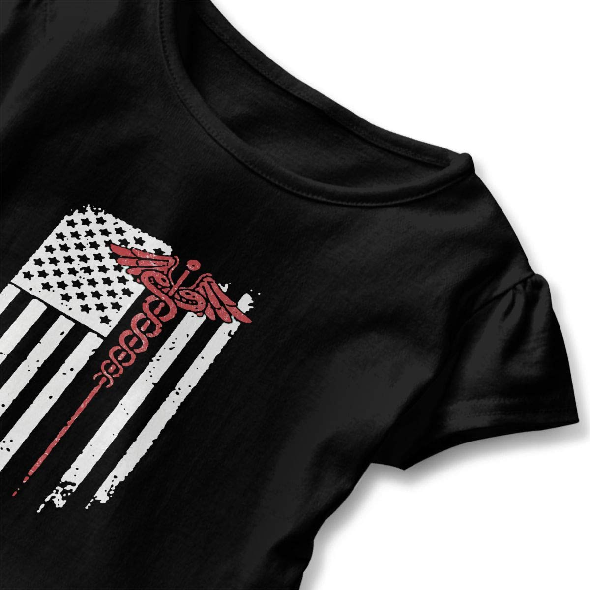 Cheng Jian Bo Nurse USA American Flag Toddler Girls T Shirt Kids Cotton Short Sleeve Ruffle Tee
