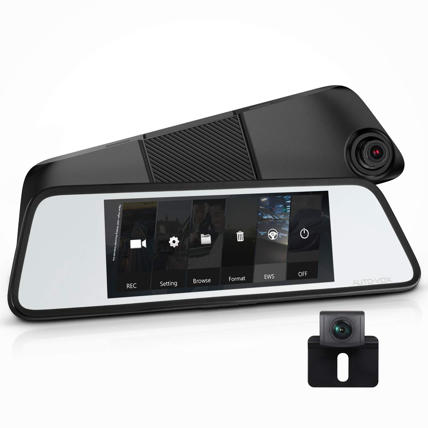 Auto Vox M8 Touch Screen Mirror Dash Cam1296p Fhd Front Free Volvo Wiring Diagrams Rear View Camera And 180horizontal Angle Backup Kit With Lane