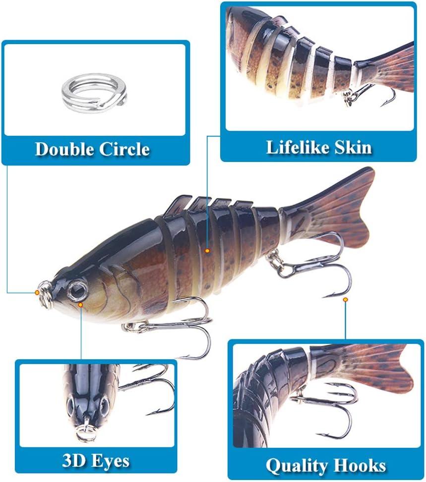 BUONDAC 5 Señuelos de Pesca 10cm Cebos de Pescar Articulados Artificiales Señuelos Spinning para Calamar Lubina Río Mar: Amazon.es: Deportes y aire libre