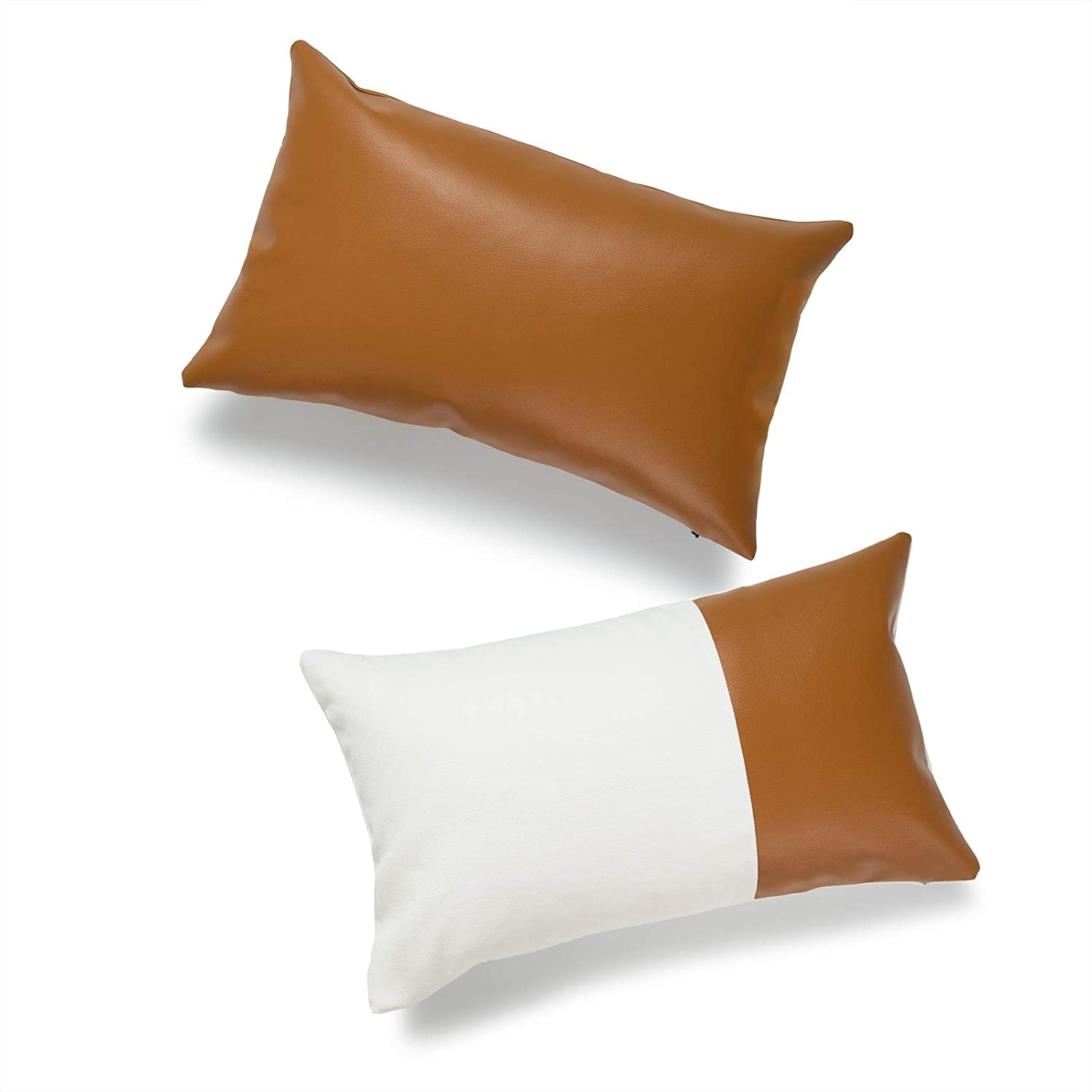 Hofdeco Faux Leather And 100 Cotton Pillow Cover Only Camel Black Modern Design 12 X20 Set Of 2 Home Kitchen