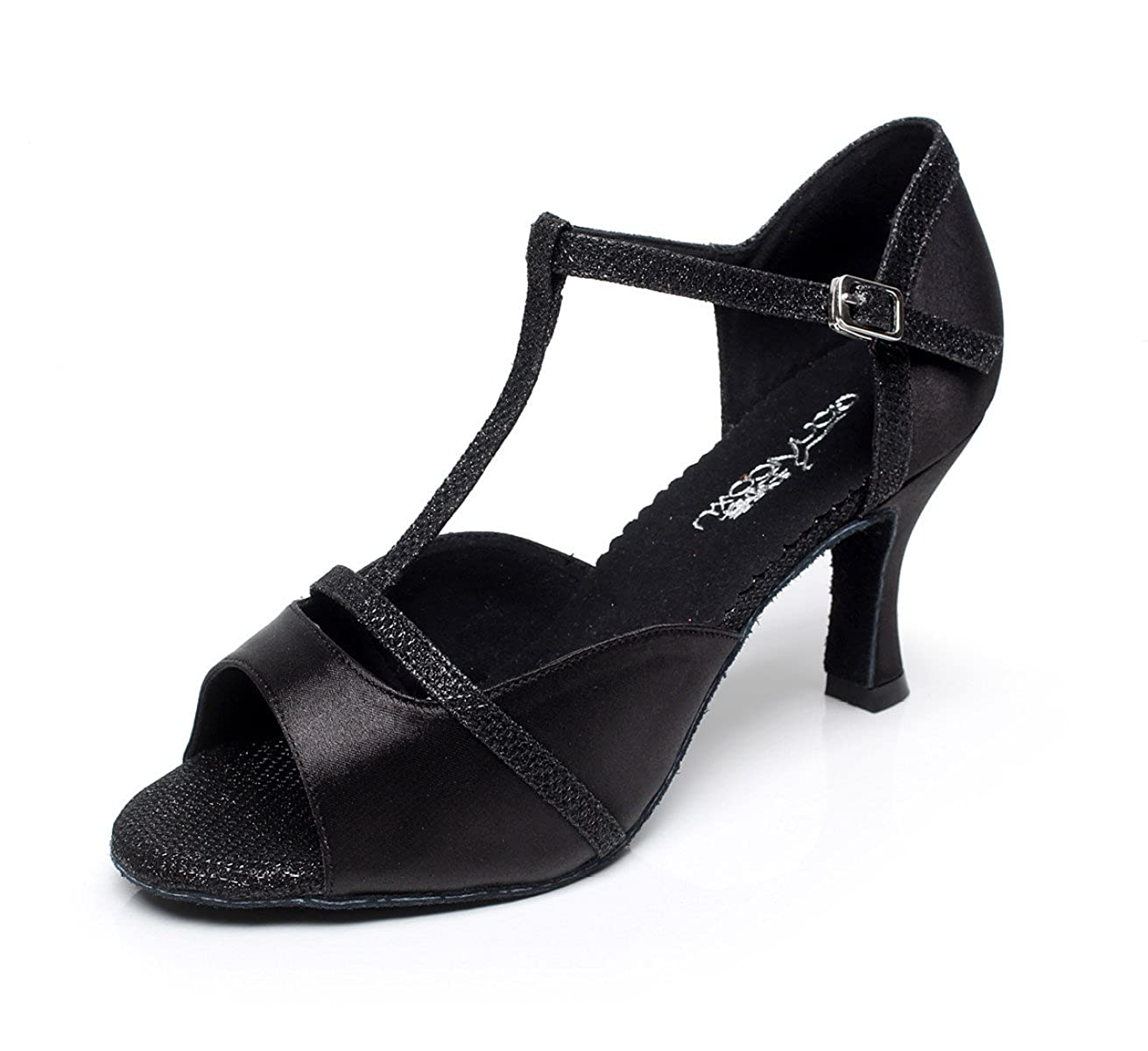JSHOE Femmes Sexy T-Strap Latin Salsa Ballroom T-Strap Jazz Chaussures - de Danse Ballroom Latino Tango Party Danse Chaussures Talons Hauts,Black-heeled7.5cm-UK5/EU37/Our38 - b58a68f - shopssong.space