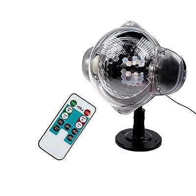 JohnJohnsen LED Color de la luz de la Nieve/Blanco Control Remoto de RF Proyector de Copo de Nieve Luz de Escenario para césped Impermeable al Aire Libre (Oro): Electrónica
