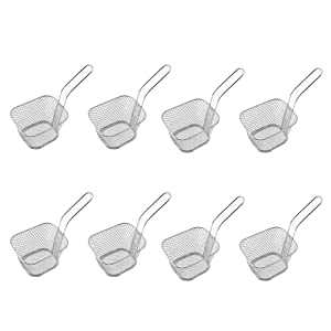 8 Pieces Mini Square Fry Baskets 3.7×1.65×2inch Odowalker Table Serving Frying Fries Chips Baskets French Fries Desk Food Presentation Mesh Basket Kitchen Cooking Tool
