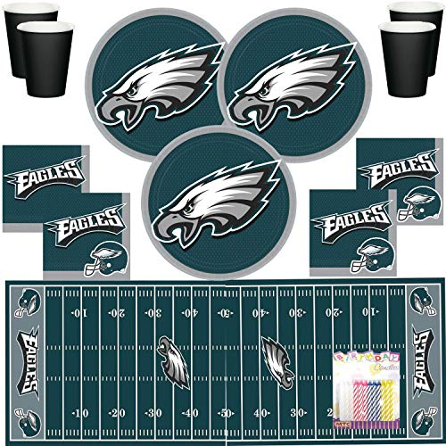 Eagles Party Decorations (Philadelphia Eagles NFL Football Team Logo Plates Napkins Cups and Table Cover Serves 16 with Birthday Candles (Bundle for)