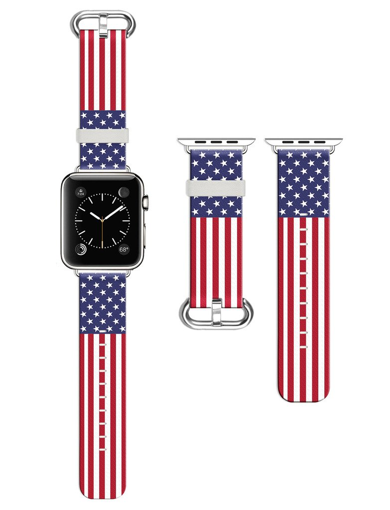 Dsigo Replacement Band for Apple Watch 38mm Series 2 Series 1, Strap Leather Bands for iwatch, Leather Sport Style Wristband, Personalized Design, High-definition flag pattern