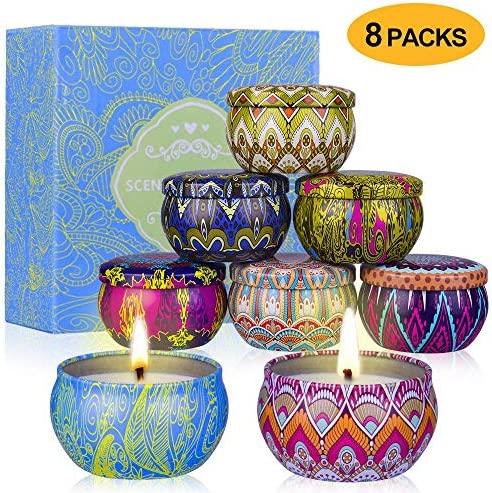 YYCH Scented Candles Gift Set (Lemon, Fig, Lavender, Spring Fresh,Rose ,Jasmine,Vanilla,Bergamot) Soy Wax Tin Candles, Natural Fragrance Candles for Stress Relief and Aromatherapy Candles Set of 8