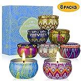 YIH Gift Package Scented Candles Lemon, Fig, Lavender, Spring Fresh,Rose ,Jasmine,Vanilla,Bergamot,Natural Soy Wax Portable Travel Tin Candle,Set of 8