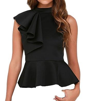 52757ac1359 Shawhuwa Womens Sexy Asymmetric Ruffle Side Peplum Top Clubwear XS Black
