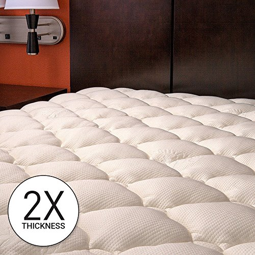 Bamboo Extra Thick Mattress Pad with Fitted Skirt - Extra Plush Cooling Topper - Hypoallergenic - Proudly Made in the USA, Twin