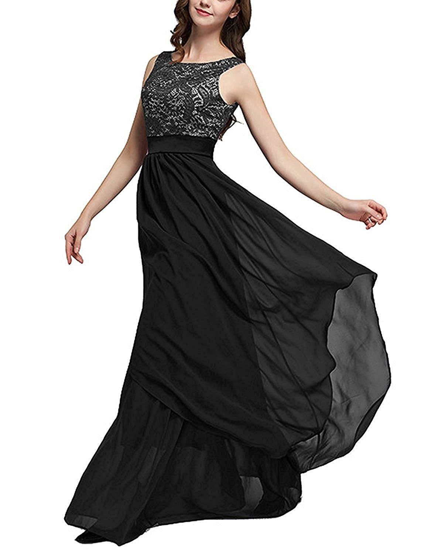 carinacoco Donna Elegante Vestiti da Matrimonio Pizzo Abito in Chiffon  Lunghi Vestito Formale Banchetto Sera 2b2ef4bd264