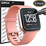 QIBOX Screen Protector Compatible Fitbit Versa & Versa Lite Edition, 3-Pack Waterproof Tempered Glass Screen Protector Compatible Fitbit Versa Smart Watch [Ultra Clear/Scratch Resistant/Anti-Bubble]