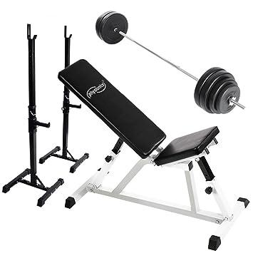 Physionics - Banco de entrenamiento con dos soportes para barras y juego de pesas con barra larga 60 kg: Amazon.es: Deportes y aire libre