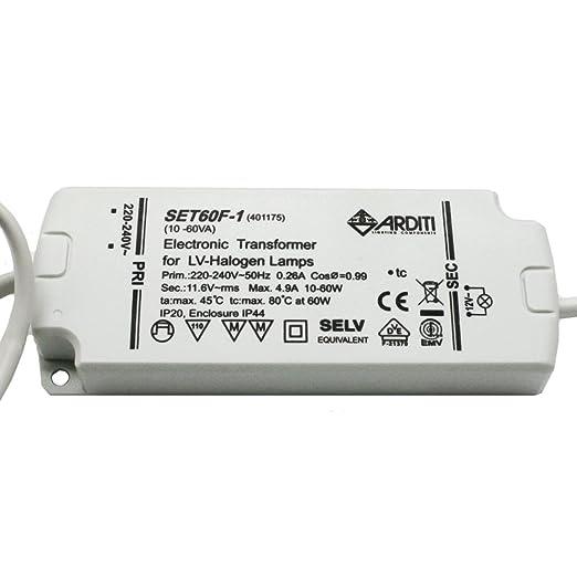 Elektronischer Halogen Trafo Für Niedervolt Halogen Leuchtmittel 12V 60Watt
