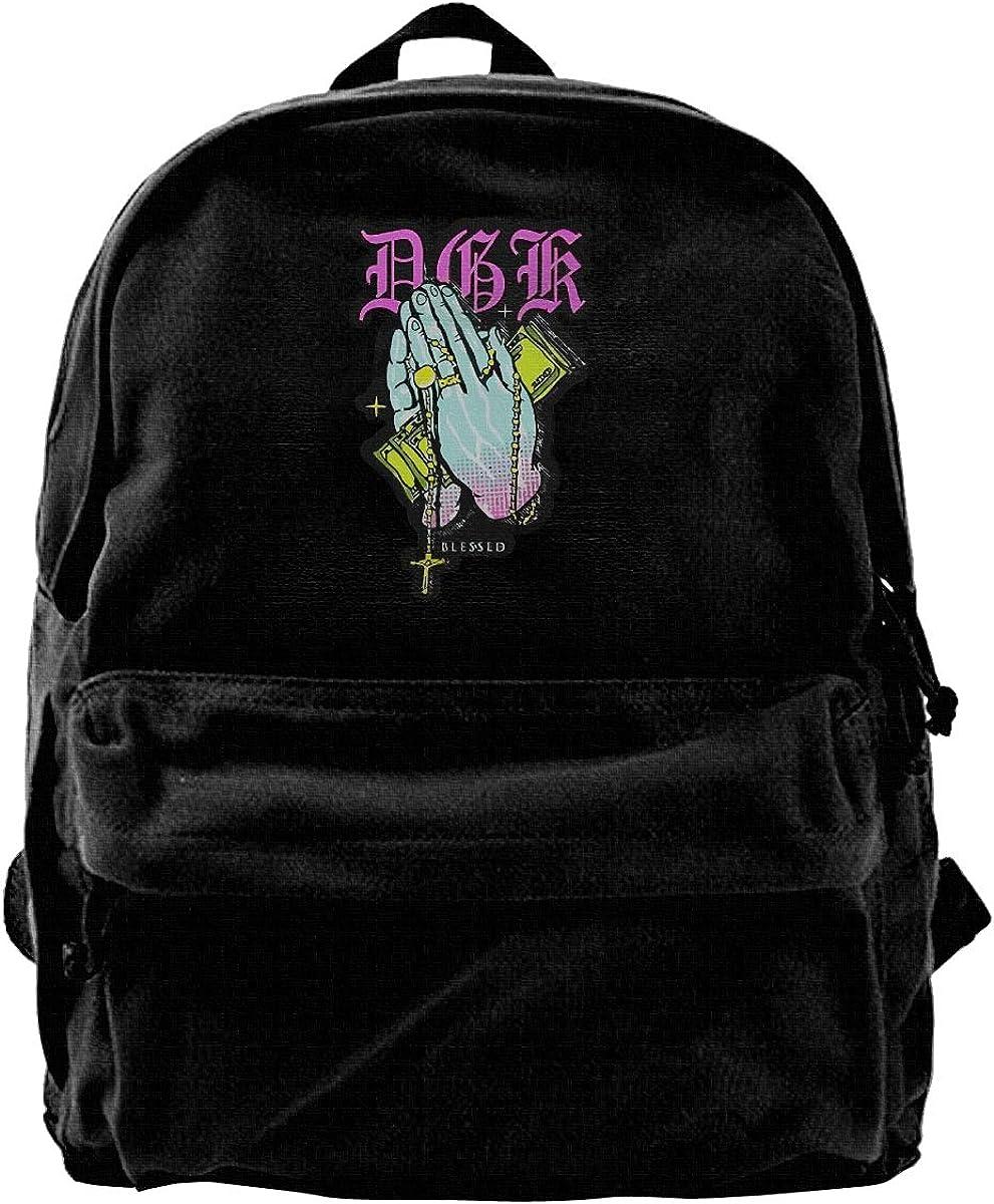 WUHONZS Canvas Backpack DGK Blessed Graphic Rucksack Gym Hiking Laptop Shoulder Bag Daypack for Men Women