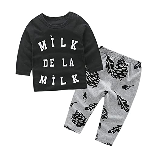 378aca47a22d Amazon.com: Lurryly 2Pcs Newborn Baby Boys Tops+Pants Kids Clothes Clothing  Outfit Set Apparel 0-2T: Clothing