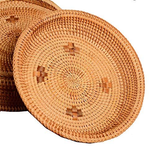- Rattan Handwoven Round Fruit Basket Food Caddy Snack Storage Tray Dinning Room Bowl (L-26cm)