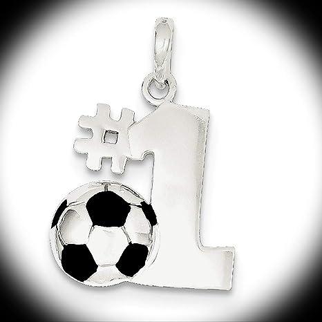 Sterling Silver Enameled /& Polished Number One Soccer Pendant