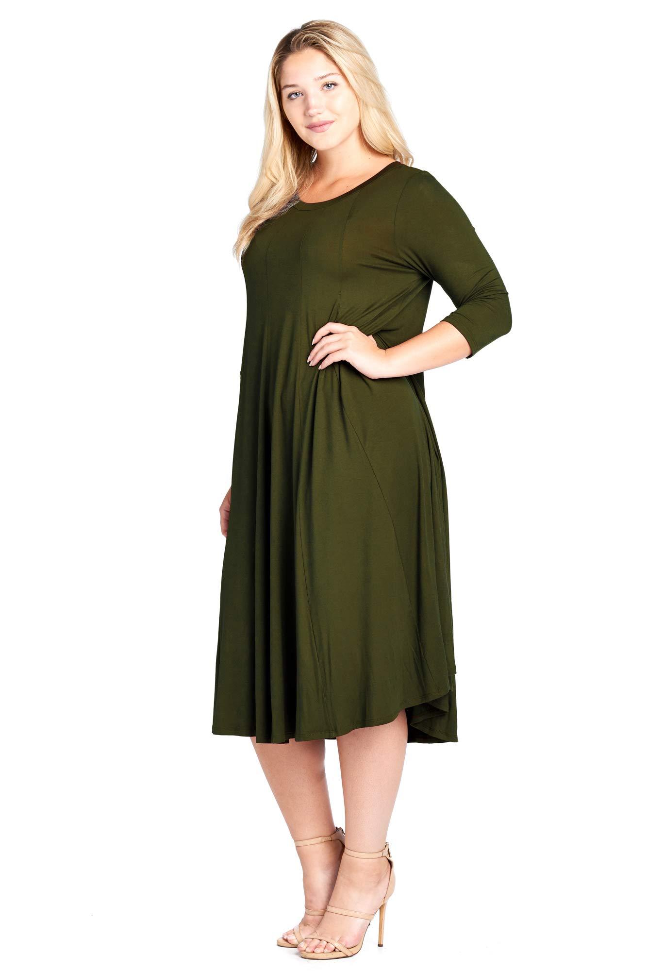 Modern Kiwi Long Sleeve Flowy Maxi Plus Size Dress Olive 3X ...