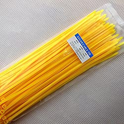 "12"" Heavy Duty Self Locking Nylon Cable Zip Ties,100 Pcs (Yellow)"