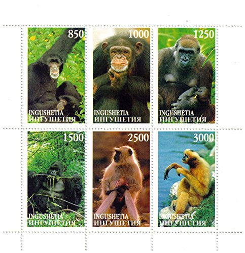 Pane Commemorative (Unofficial and Illicit Ingushetia Republic Stamps: Primates, 6 Stamp Pane)