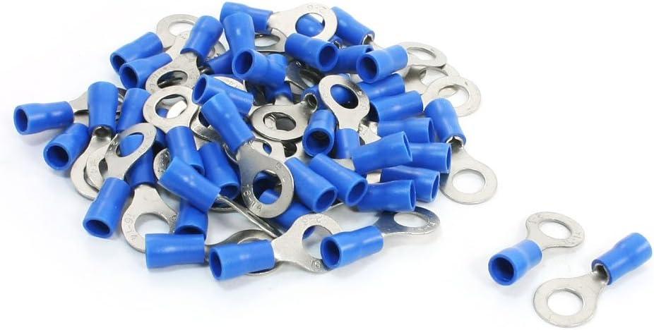 sourcing map 50Pcs manchon isolant en PVC bleu les cosses /à anneau Cosse RV2-6 AWG 16-14