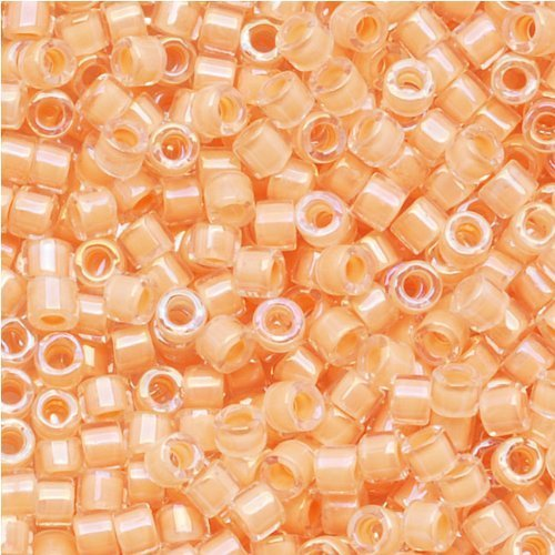 Miyuki Delica Seed Beads 11/0 Lt Peach Lined Lined Crystal AB Flesh DB067 8 Grams