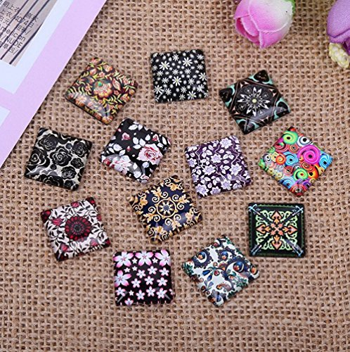 50-100pcs/lot 10mm - 12mm Square New Glass Mix Graphic Flower Black Ceramic Pattern Cabochon Handmade D.I.Y. Jewelry Embellishments Supplies for Jewelry Craft (12mm - 50pcs/lot)