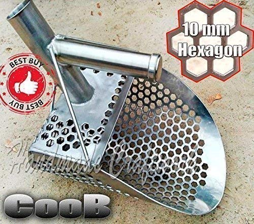 Amazon.com: Beach Sand Scoop Coob ProSeries PELICAN V2 PRO Edition. Large Wide Strong Metal Detector Hunting Tool Stainless Steel, Hexahedron Holes by CooB: ...