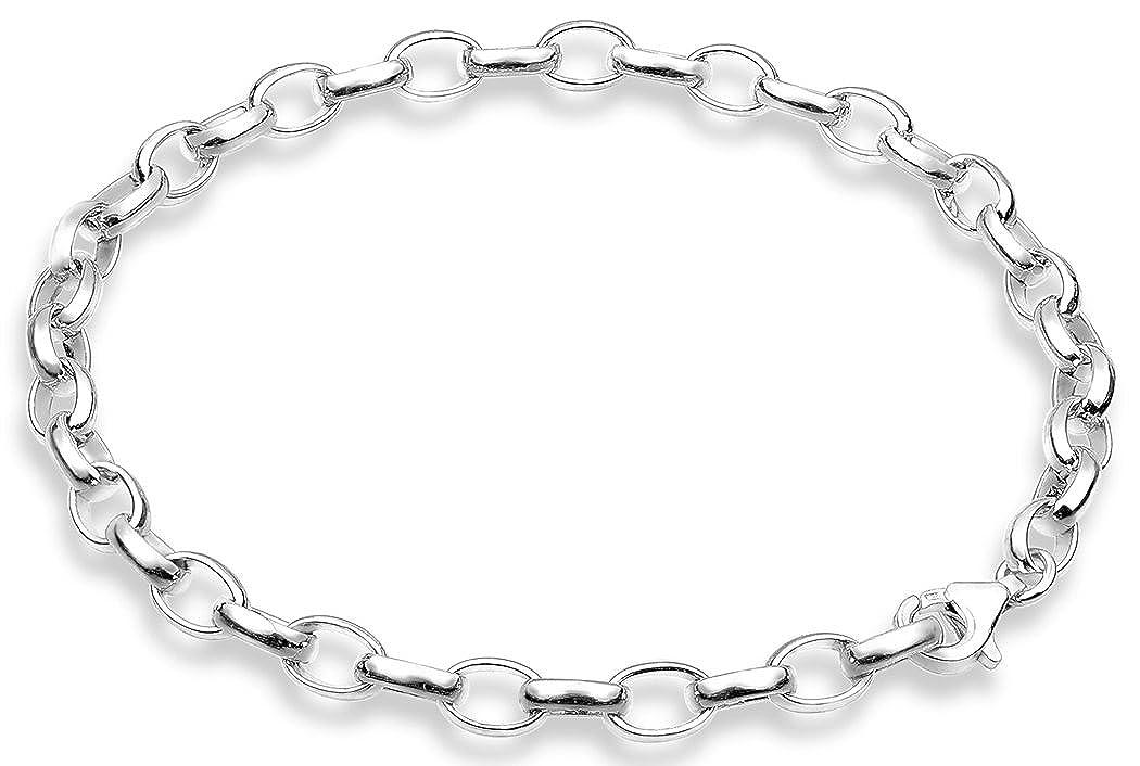 Nenalina Charm Träger Armband, passend für alle gängigen Charms, breite 5 mm, Länge bis 22 cm verstellbar, 925 Sterling Silber, 873006-022
