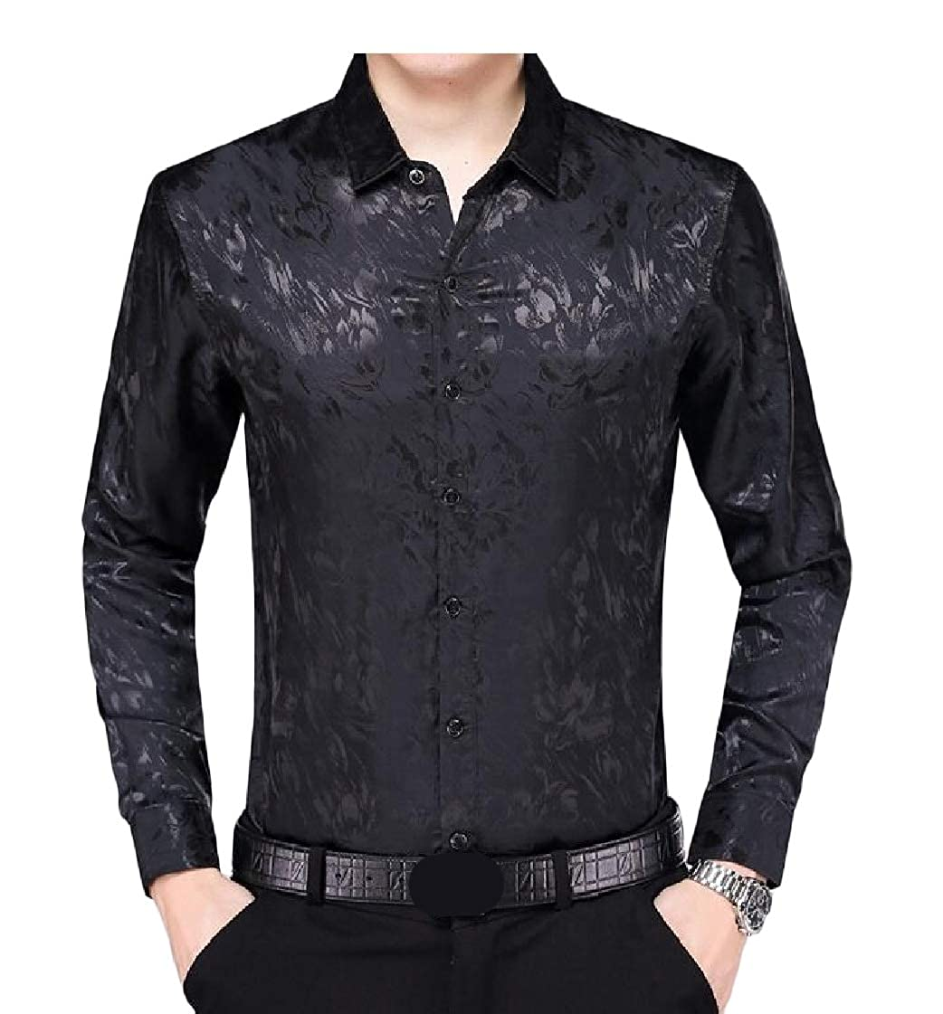 Pandapang Men Printed Vogue Long Sleeve Button-Down Lapel Thin Shirts